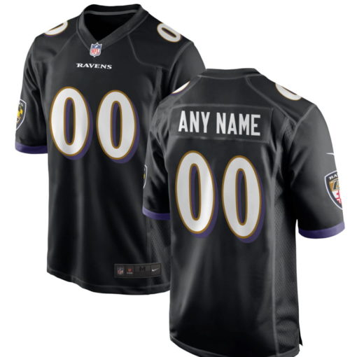 Men's Baltimore Ravens Black Customized Game Jersey