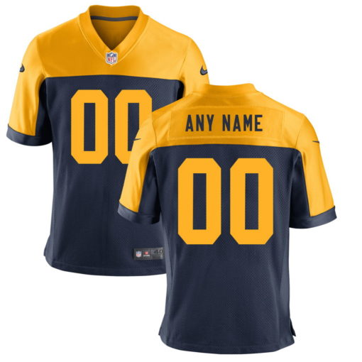 Men's Green Bay Packers Navy Customized Game Jersey