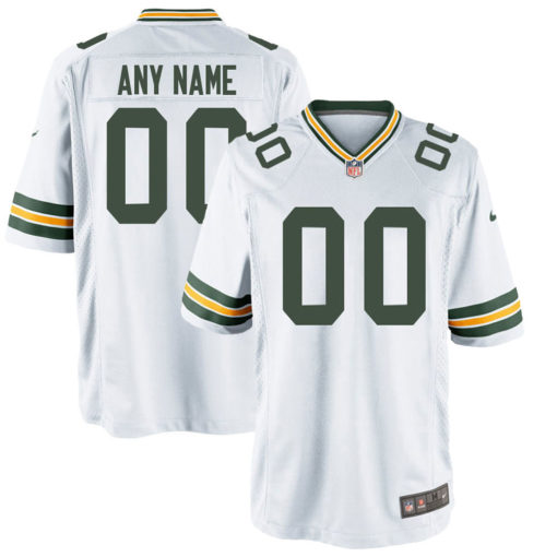 Men's Green Bay Packers White Customized Game Jersey
