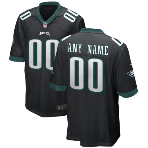 Men's Philadelphia Eagles Midnight Black Custom Game Jersey