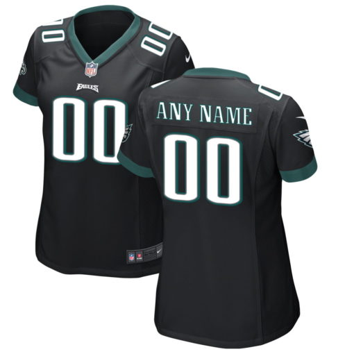 Women's Philadelphia Eagles Midnight Black Custom Game Jersey