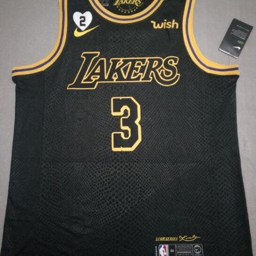 Davis #3 Lakers city edition Black jersey with Love path 1