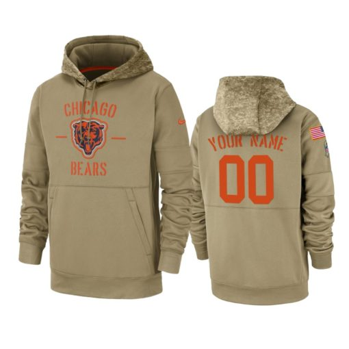 Chicago Bears Custom Tan 2019 Salute to Service Sideline Therma Pullover Hoodie