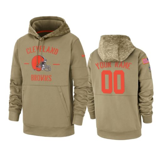 Cleveland Browns Custom Tan 2019 Salute to Service Sideline Therma Pullover Hoodie