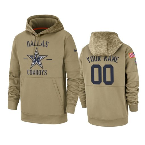 Dallas Cowboys Custom Tan 2019 Salute to Service Sideline Therma Pullover Hoodie
