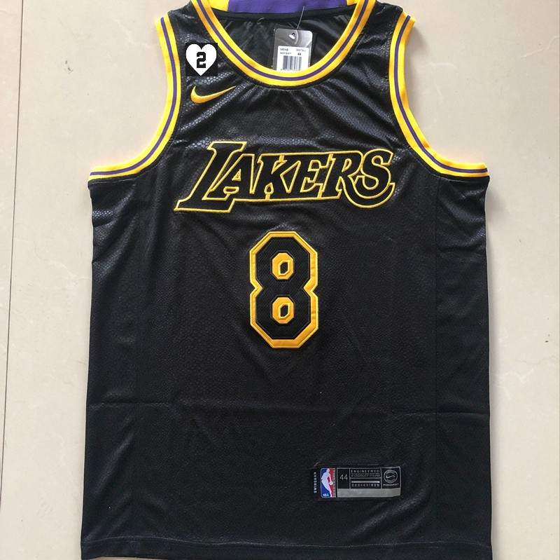 Kobe Bryant #8 Los Angeles Lakers City Edition Black Jersey With Love Path