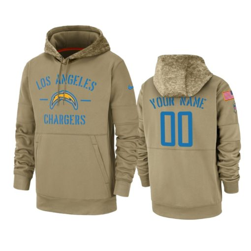 Los Angeles Chargers Custom Tan 2019 Salute to Service Sideline Therma Pullover Hoodie