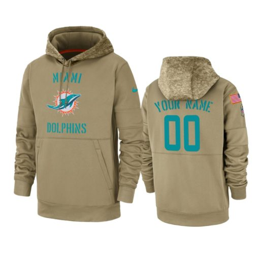 Miami Dolphins Custom Tan 2019 Salute to Service Sideline Therma Pullover Hoodie