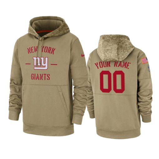 New York Giants Custom Tan 2019 Salute to Service Sideline Therma Pullover Hoodie