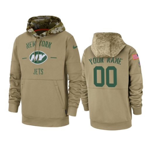 New York Jets Custom Tan 2019 Salute to Service Sideline Therma Pullover Hoodie