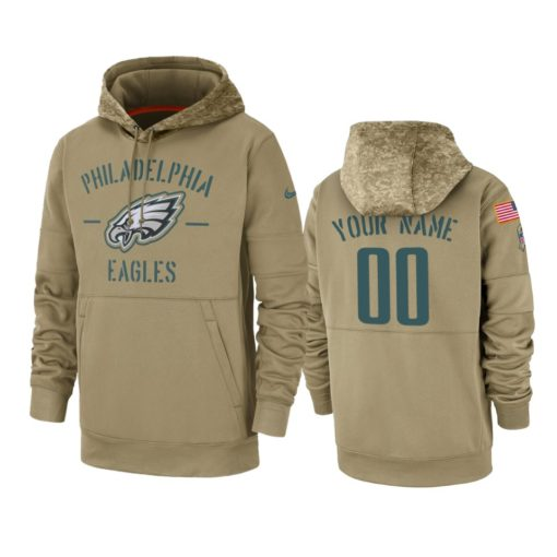 Philadelphia Eagles Custom Tan 2019 Salute to Service Sideline Therma Pullover Hoodie