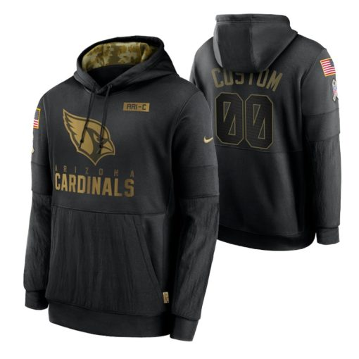 Arizona Cardinals Custom Black 2020 Salute To Service Sideline Performance Pullover Hoodie