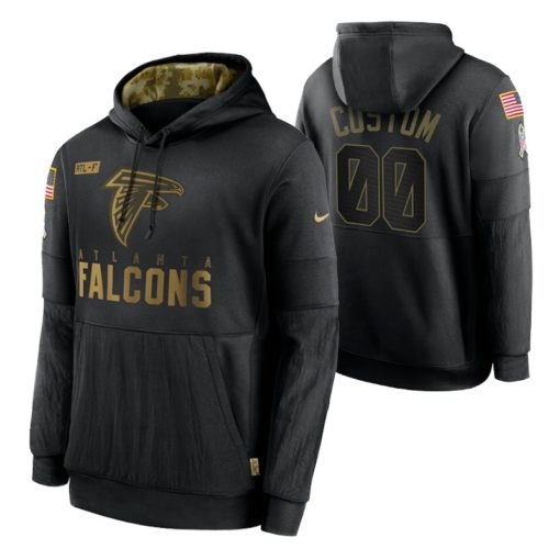 Atlanta Falcons Custom Black 2020 Salute To Service Sideline Performance Pullover Hoodie