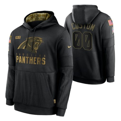 Carolina Panthers Custom Black 2020 Salute To Service Sideline Performance Pullover Hoodie