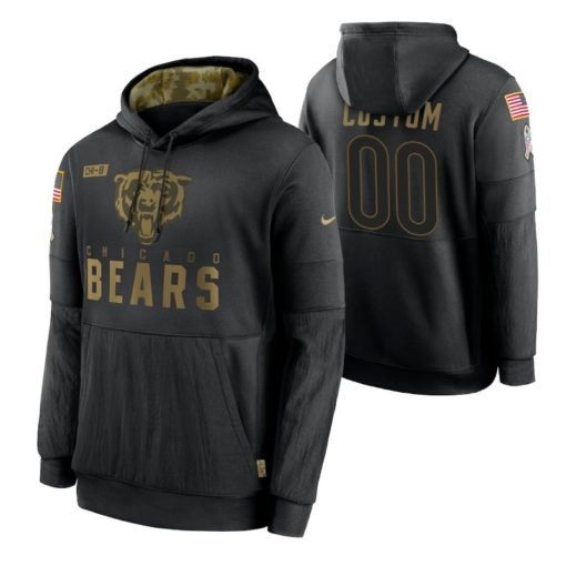 Chicago Bears Custom Black 2020 Salute to Service Sideline Performance Pullover Hoodie
