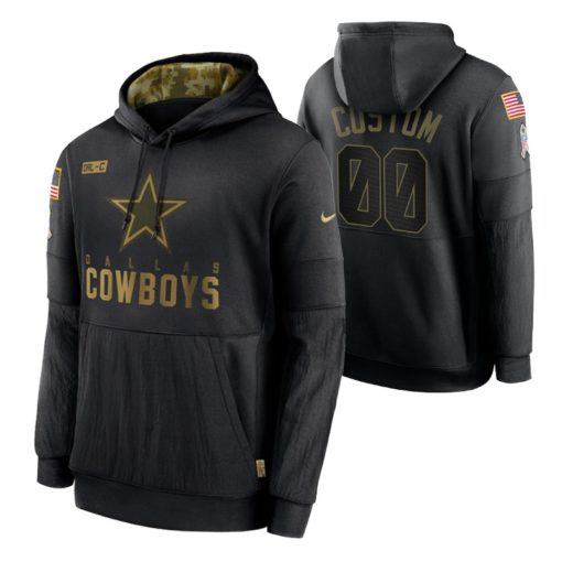 Dallas Cowboys Custom Black 2020 Salute To Service Sideline Performance Pullover Hoodie