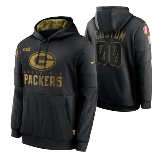 Green Bay Packers Custom Black 2020 Salute To Service Sideline Performance Pullover Hoodie