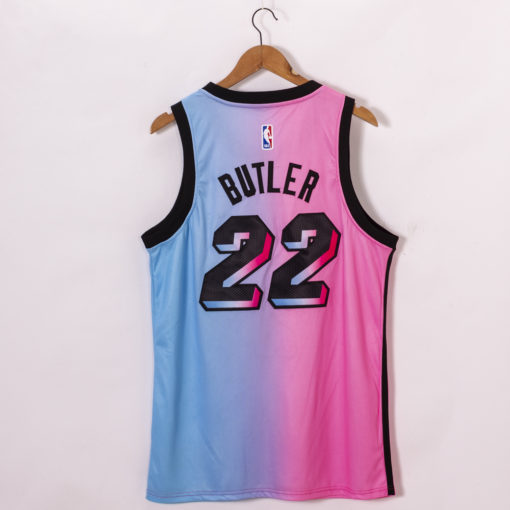 Jimmy Butler Miami Heat 2020-21 Blue Pink Rainbow City Jersey back