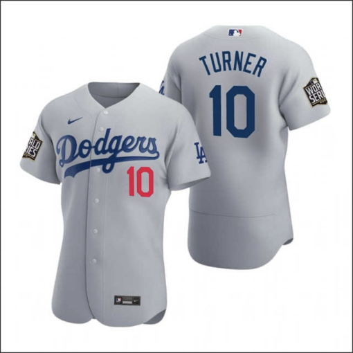 Justin Turner #10 Los Angeles Dodgers Gray 2020 World Series Path Jersey