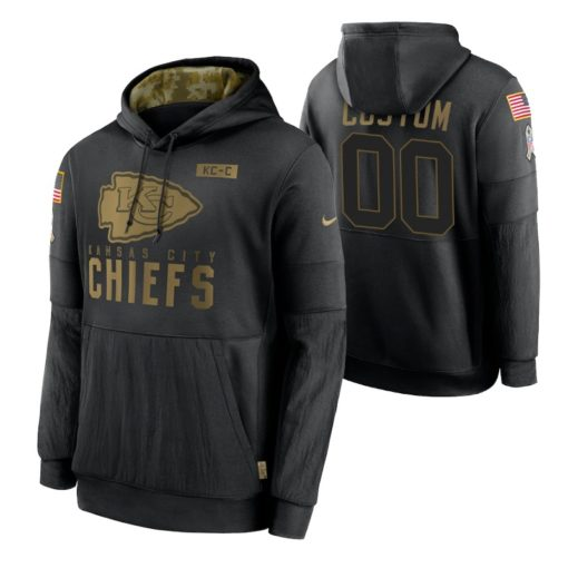 Kansas City Chiefs Custom Black 2020 Salute To Service Sideline Performance Pullover Hoodie