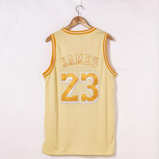 LeBron James Los Angeles Lakers Hardwood Classics Golden Edition Jersey back