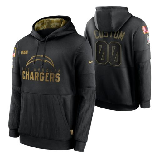 Los Angeles Chargers Custom Black 2020 Salute To Service Sideline Performance Pullover Hoodie