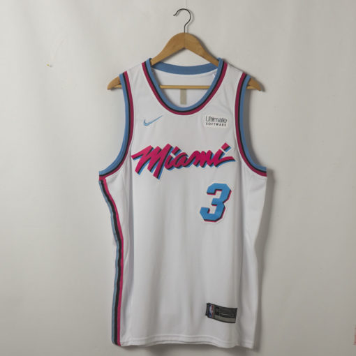 Dwyane Wade Miami Heat 2019-20 Vice Wave White Swingman Jersey