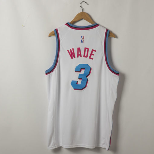 Dwyane Wade Miami Heat 2019-20 Vice Wave White Swingman Jersey back