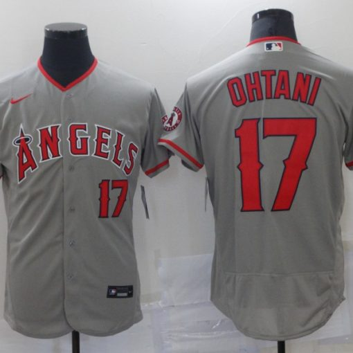 Men's Los Angeles Angels Shohei Ohtani Gray Player Name Jersey