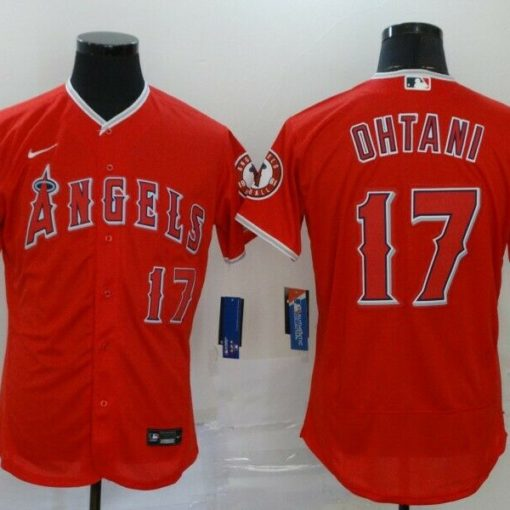 Men's Los Angeles Angels Shohei Ohtani Red Player Name Jersey