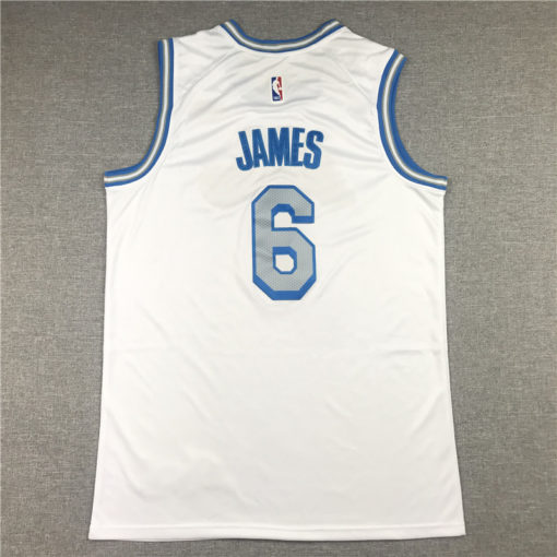 LeBron James 6 Los Angeles Lakers 2021 City Edition White Jersey back