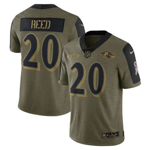 Men's Baltimore Ravens Ed Reed Nike Olive 2021 Salute To Service Retired Player Limited Jersey