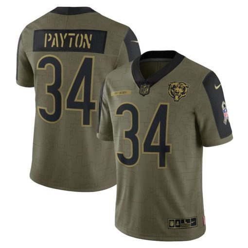 Men's Chicago Bears Walter Payton Nike Olive 2021 Salute To Service Retired Player Limited Jersey