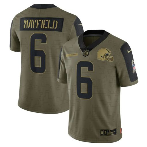 Men's Cleveland Browns Baker Mayfield Nike Olive 2021 Salute To Service Limited Player Jersey