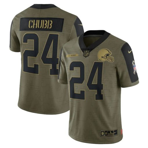 Men's Cleveland Browns Nick Chubb Nike Olive 2021 Salute To Service Limited Player Jersey