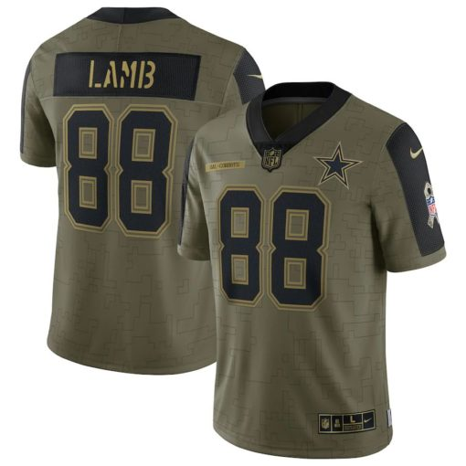 Men's Dallas Cowboys CeeDee Lamb Nike Olive 2021 Salute To Service Limited Player Jersey