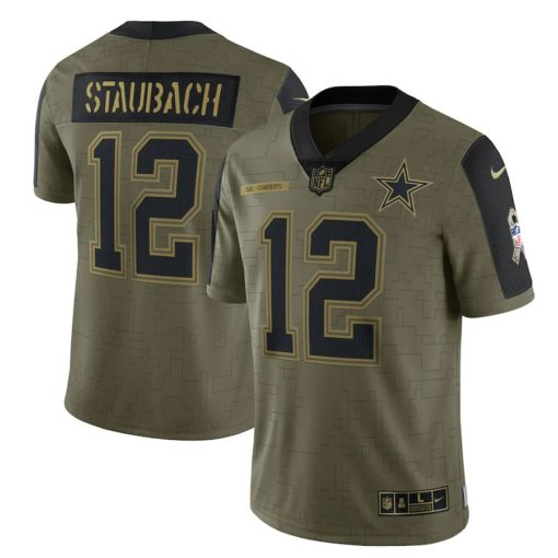 Men's Dallas Cowboys Roger Staubach Nike Olive 2021 Salute To Service Retired Player Limited Jersey