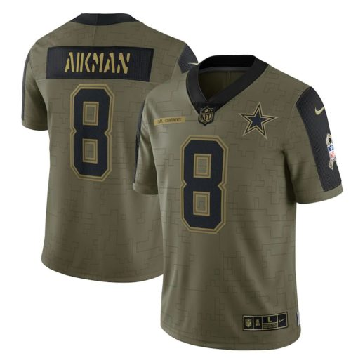 Men's Dallas Cowboys Troy Aikman Nike Olive 2021 Salute To Service Retired Player Limited Jersey