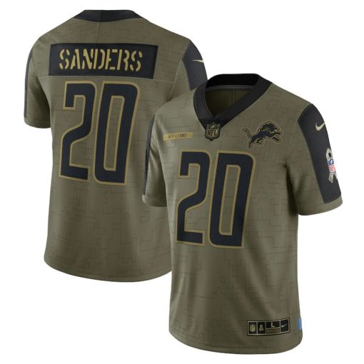 Men's Detroit Lions Barry Sanders Nike Olive 2021 Salute To Service Retired Player Limited Jersey