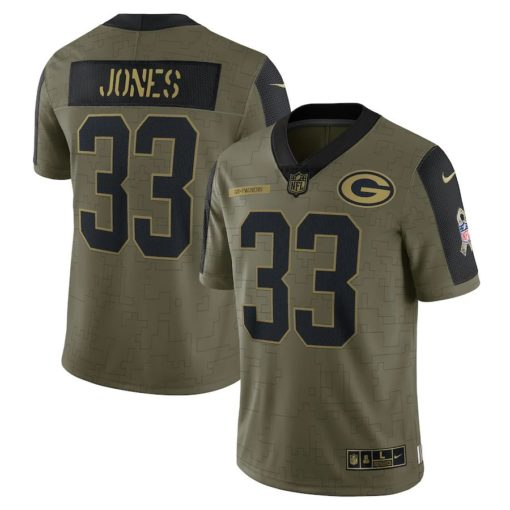 Men's Green Bay Packers Aaron Jones Nike Olive 2021 Salute To Service Limited Player Jersey