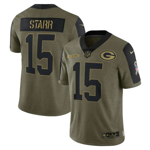 Men's Green Bay Packers Bart Starr Nike Olive 2021 Salute To Service Retired Player Limited Jersey