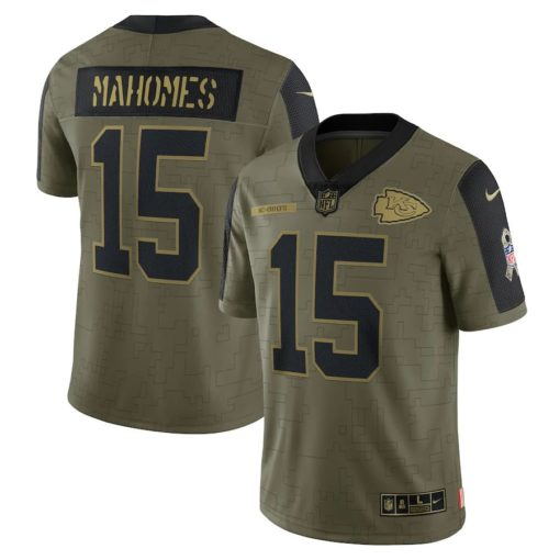 Men's Kansas City Chiefs Patrick Mahomes Nike Olive 2021 Salute To Service Limited Player Jersey