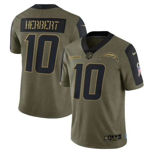 Men's Los Angeles Chargers Justin Herbert Nike Olive 2021 Salute To Service Limited Player Jersey