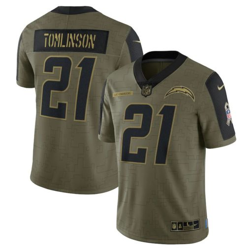 Men's Los Angeles Chargers LaDainian Tomlinson Nike Olive 2021 Salute To Service Retired Player Limited Jersey