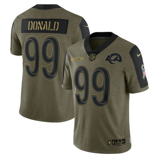 Men's Los Angeles Rams Aaron Donald Nike Olive 2021 Salute To Service Limited Player Jersey