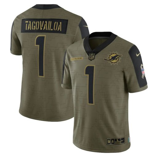 Men's Miami Dolphins Tua Tagovailoa Nike Olive 2021 Salute To Service Limited Player Jersey