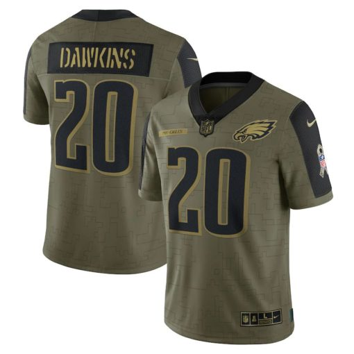 Men's Philadelphia Eagles Brian Dawkins Nike Olive 2021 Salute To Service Retired Player Limited Jersey