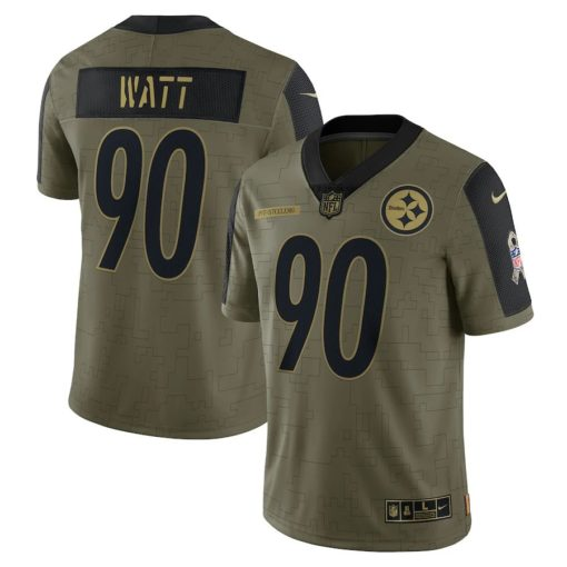 Men's Pittsburgh Steelers T.J. Watt Nike Olive 2021 Salute To Service Limited Player Jersey