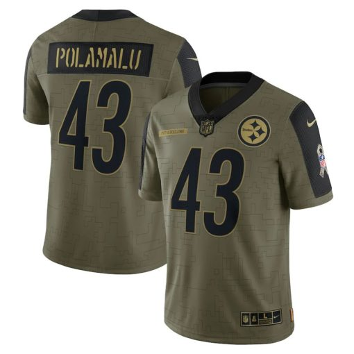 Men's Pittsburgh Steelers Troy Polamalu Nike Olive 2021 Salute To Service Retired Player Limited Jersey