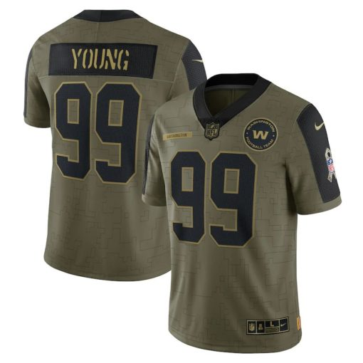 Men's Washington Football Team Chase Young Nike Olive 2021 Salute To Service Limited Player Jersey